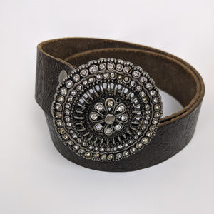 Fossil | Brown Embossed Belt with Large Buckle